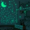 338 шт. светится в темноте настенные наклейки флуоресцентные звезд, Луны наклейки на стены Дети Спальня декор для потолка светящиеся наклейк...
