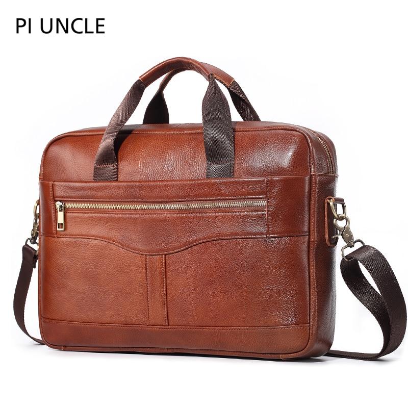 leather office men/'s briefcase laptop messenger shoulder business genuine