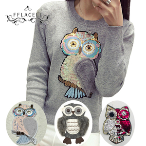 FFLACELL Paillette Large owl Fabric Applique DIY Embroidery Sequin Patches for clothing Sew(China)