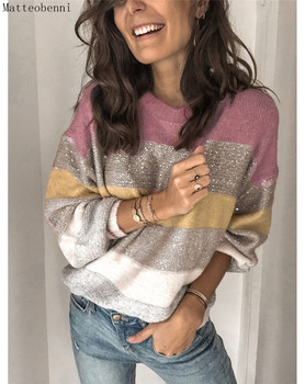 Women Autumn Winter Knitted Sweaters O-neck Long Sleeve Multicolor Patchwork pullover Tops Ladies Casual Jumper Plus Size 2020 plus size long sleeve ribbed jumper casual knit dress
