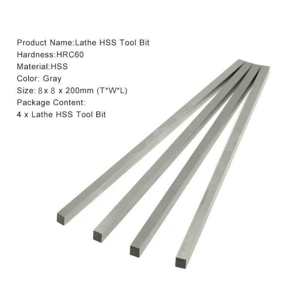 4 PCs HSS 8mm x 8mm x 200mm square lathe tool cutter boring bar wood turning tools