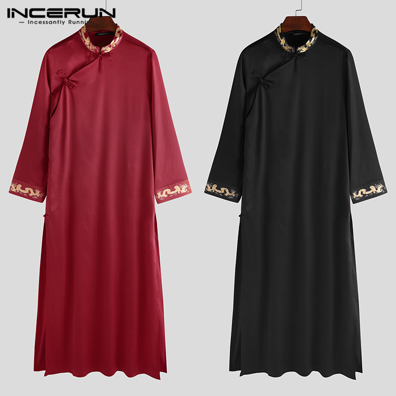 INCERUN Chinese Style Men Robes Printed Stand Collar Traditional Long Sleeve Men Long Gowns Button Vintage Cheongsam Plus Size