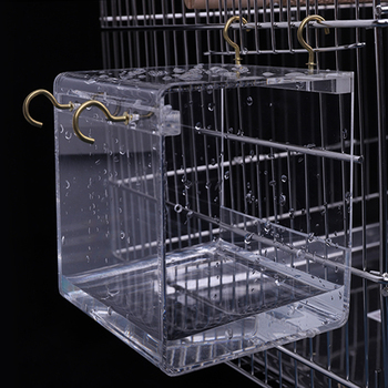 1 Pieces Acrylic Bird Bath House Cage Hanging Parrots Baths House Transparent Garden Birds Bird Accessories 2