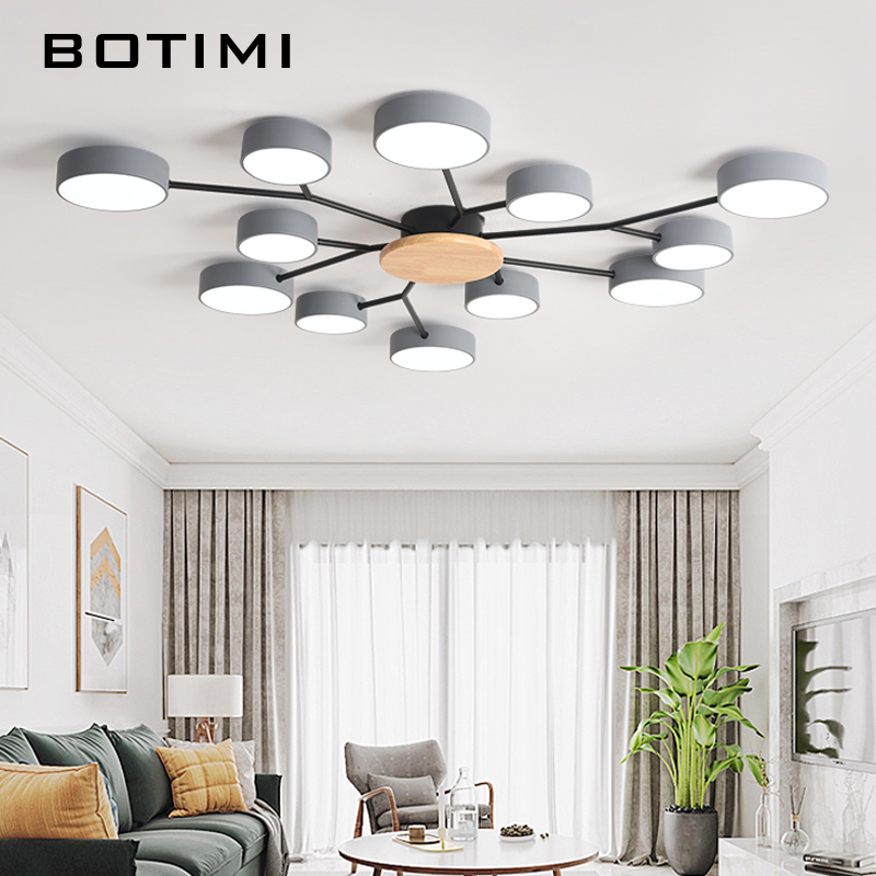 BOTIMI New Arrival Modern LED Chandelier With Round Gray Metal Lampshades For Living Room Nordic Ceiling Mounted Bedroom Lustre