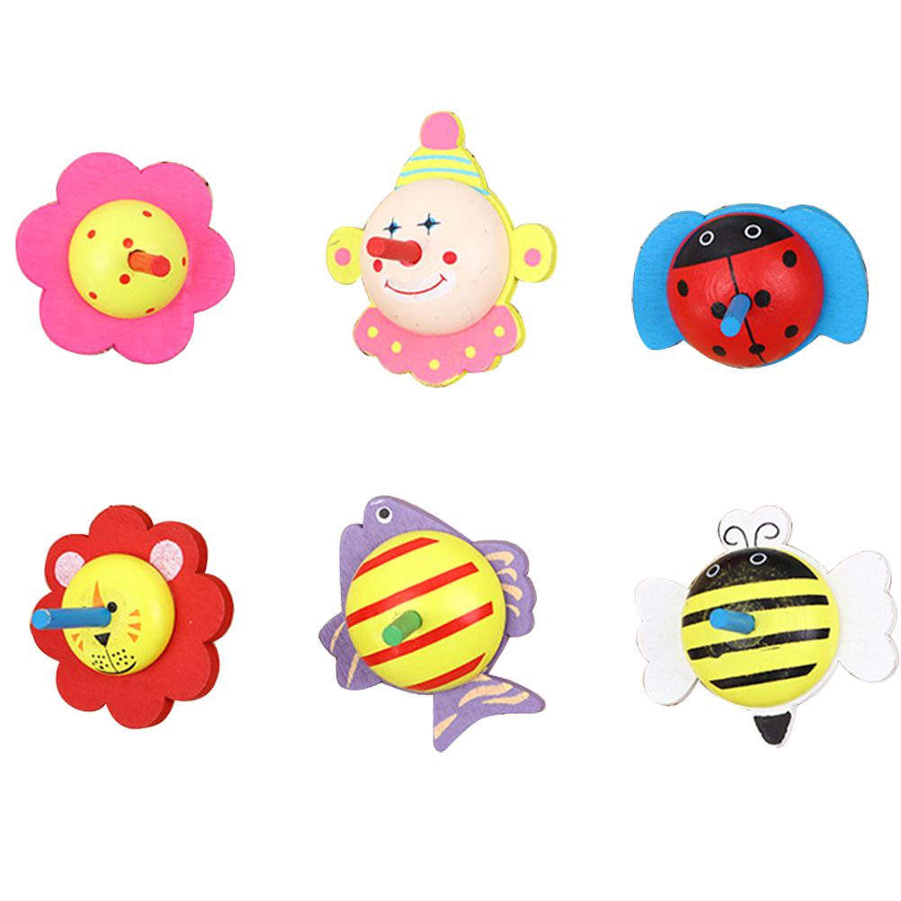 New 6Pcs Wooden Cartoon Animal Spinning Tops Toys Peg-Top Gyroscope For Kids Children Interactive Education Learning Toy #20(China)