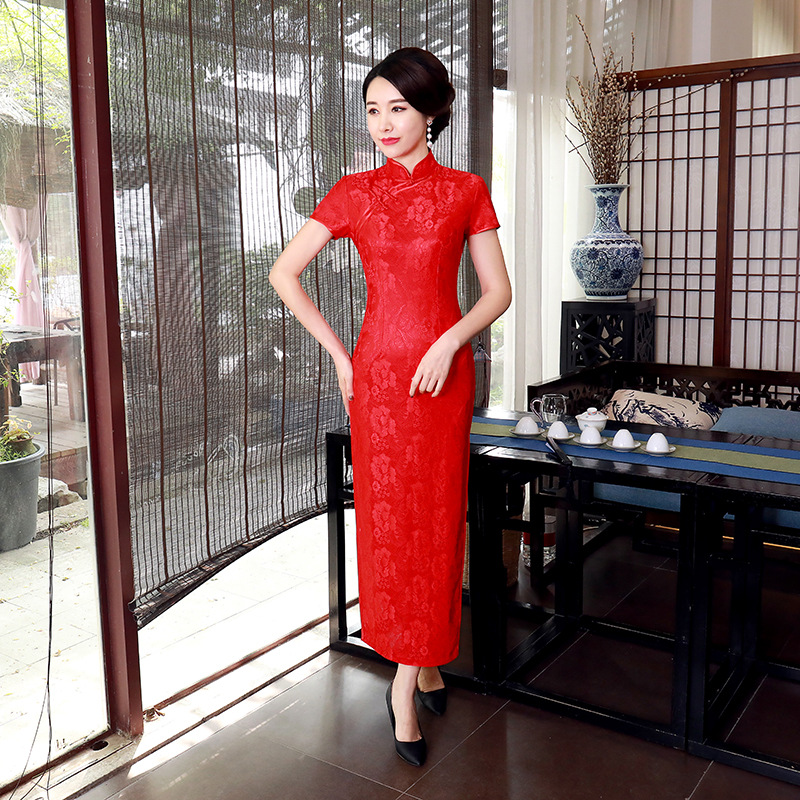 A Generation Of Fat Improved Cheongsam Long Dress Large Size Middle-aged Women Dress Slim Fit Retro Costume Lace Chinese-style
