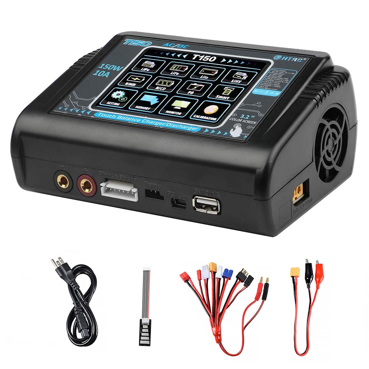 Htrc t150 carregador de bateria inteligente ac/dc 150w 10a com carga do equilíbrio da tela de toque para lipo lihv vida lilon nicd nimh pb bateria