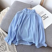 Gooporson Toddler Girl Fall Clothes Blue Long Sleeve Shirt Fashion Korean Blouse Pullover Cute Little Girls Costume Kids Tops