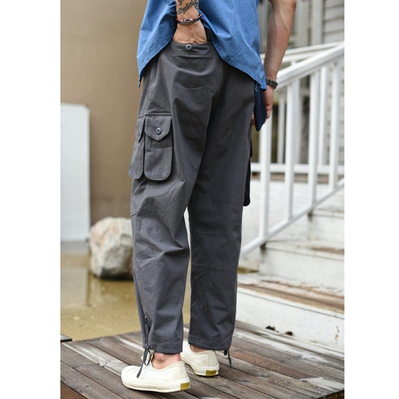 Saucezhan Casual Pants Ankle-Length Pants Men's Pants Mountain Troop Uniform Pants Cargo Pants Summer Wide Legs