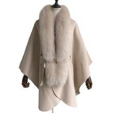 Abrigo de cachemir para mujer, con fajas, gran cuello de piel de zorro, chaqueta de lana para mujer, abrigo de cuello de piel auténtica desmontable liso holgado