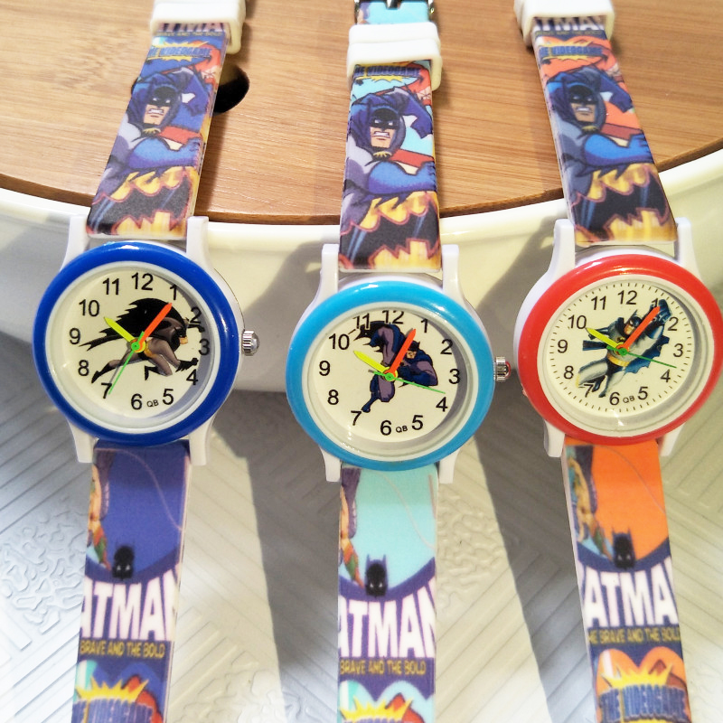 Casual Fashion Children Watch Colored Strap Cartoon Batman Kids Watches For Boys Girls Christmas Gift Baby Dress Bracelet Clock
