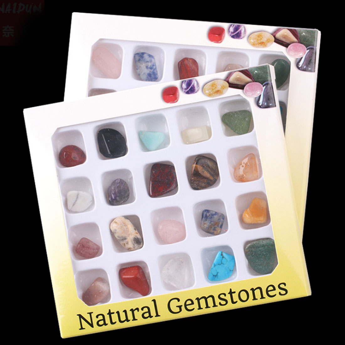 20 Slots Natural Gemstones Children Collection Box Gift Cognitive Discovery Toy Science Toys
