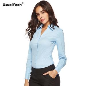 Image 3 - Usualyeah novas camisas formais femininas manga longa corpo camisa turn down colarinho v pescoço ol camisas e blusas listrado azul branco S 4XL