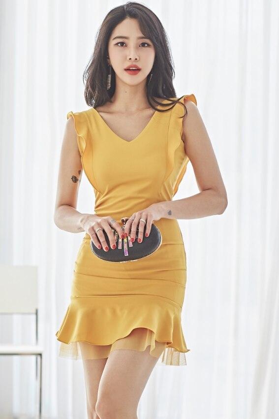 2020 משלוח חינם חדש הגעה באיכות גבוהה V צווארון חבילת ישבן סקסי נשים שמלה