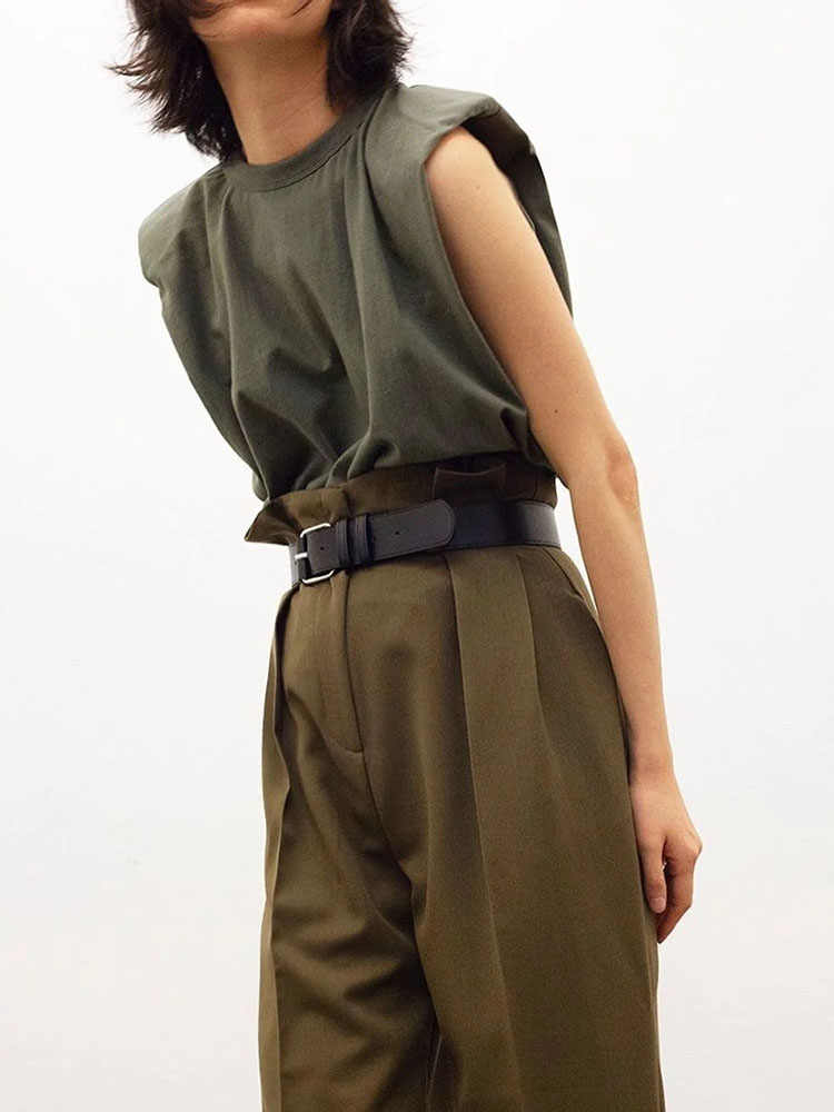 2020 kobiet za moda solidna 95% bawełna nakładka na pas bezpieczeństwa T-shirt Vintage O-Neck top bez rękawów Casual Girls Streetwear