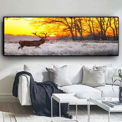 Deer in the Forest Canvas Paintings Sunset Landscape Wall Art Posters And Prints On The Wall Decorative Pictures For Living Room