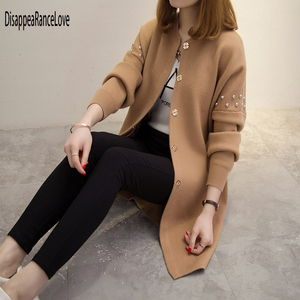 Image 5 - 2019 DRL autumn and winter medium long sweater beading rivets female cardigan loose soild O neck sweater top fashion outerwear