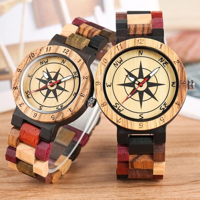 יוקרה גברים של שעון ייחודי מצפן חיוג עץ שעון גברים מעורב צבע מלא עץ להקת שעון נשים שעון רטרו שעוני יד relojes