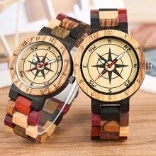 Luksusowy męski zegarek unikalny kompas Dial drewniany zegarek mężczyźni mieszany kolor pełna drewniana opaska zegarek kobiety zegar Retro zegarek Relojes