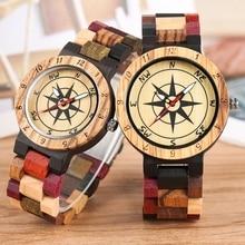 Luxury Men's Watch Unique Compass Dial Wood Watch