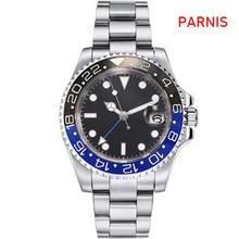 40mm PARNIS שחור חיוג GMT ספיר תאריך אוטומטי תנועה לצפות גברים של שעון