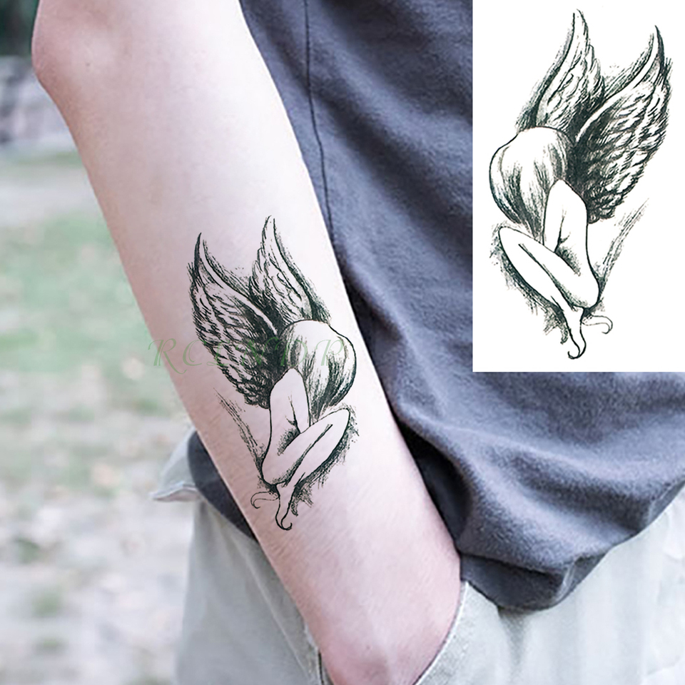Autocollant De Tatouage Temporaire Impermeable Faux Tatouage Ailes D Ange Cou Dos Pieds Body Art Pour Filles Hommes Et Enfants Aliexpress