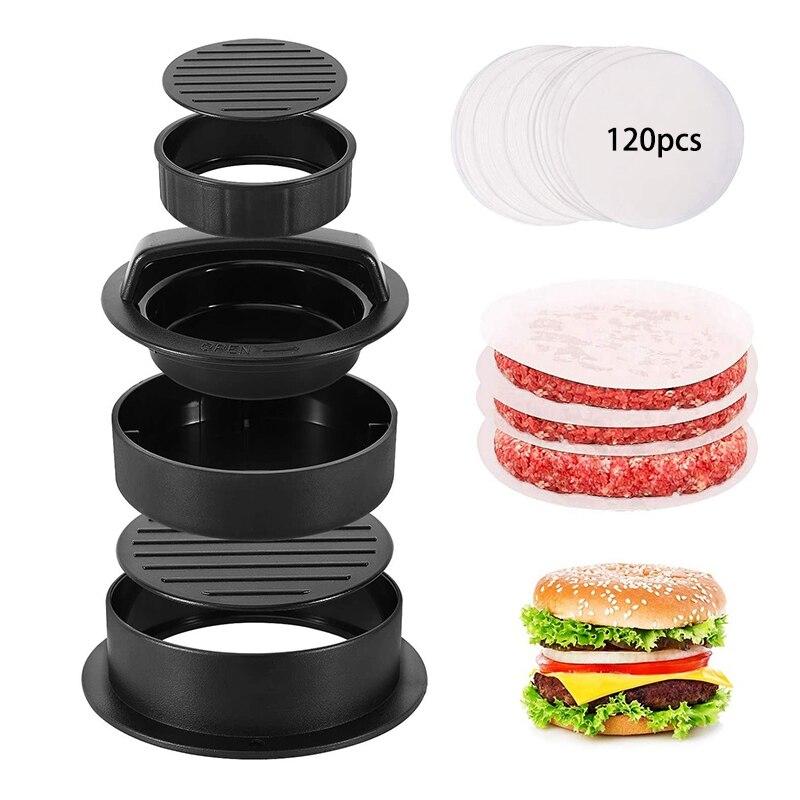3 in 1 Burger Press Patty Stuffed Burger Maker with 120Pcs Burger Paper Non Stick Sliders Beef Burger Press - Black
