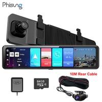 PHISUNG 4G Android 8.1 ADAS FHD 1080P Dual Rear Mirror Car DVR Dash Camera WiFi GPS Navigator recorder 2+32G with 10M rear cable