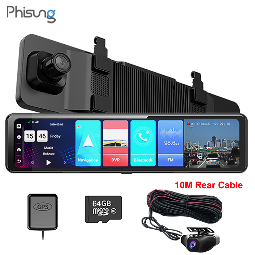 PHISUNG 4G Android 8.1 ADAS FHD 1080P Dual Rear <font><b>Mirror</b></font> <font><b>Car</b></font> <font><b>DVR</b></font> Dash Camera WiFi <font><b>GPS</b></font> Navigator <font><b>recorder</b></font> 2+32G with 10M rear cable image