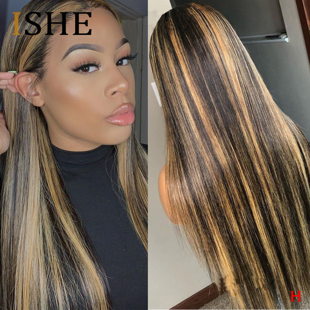 13x6 Lace Front Human Hair Wigs Straight Highlight Ombre Coloed Lace Front Wigs For Black Women Pre Plucked Lace Wig Remy 150