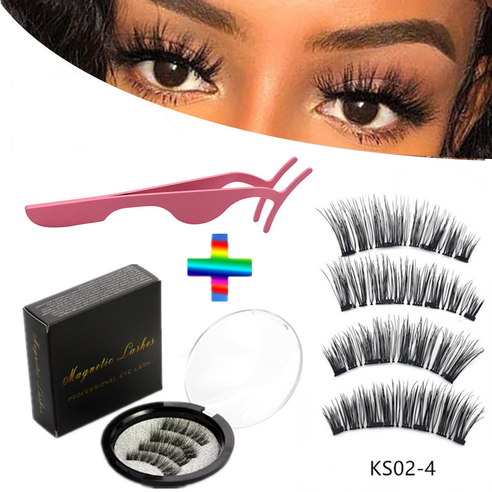 4 pieces of natural magnetic eyelashes, reusable eyelashes, glue-free eyelashes, quantum eyelash curler, easy to wear shipping 1