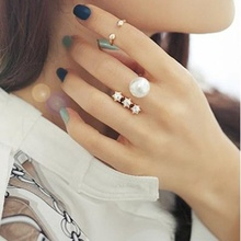 3 Piece Ring Set Creative Personality Rivet Rhinestone Artificial Pearl Index Finger Open Ring Ladies Joint Ring