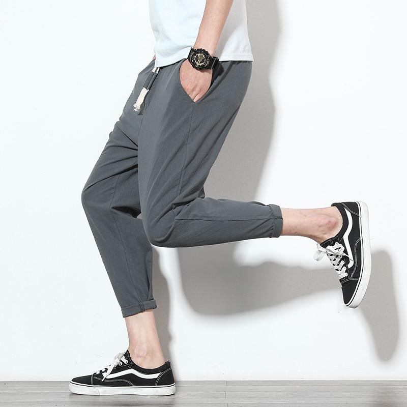 Men's Harem Pants Solid Fitness Casual Ankle-Length Mens Trousers Summer Streetwear Mens Pants Fashions Men