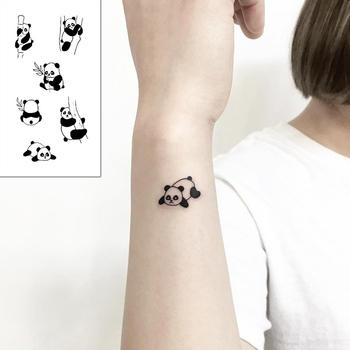 Tattoo Sticker Body Art Black White Drawing Little Element lovely panda animal Water Transfer Temporary Fake tatto flash tatoo