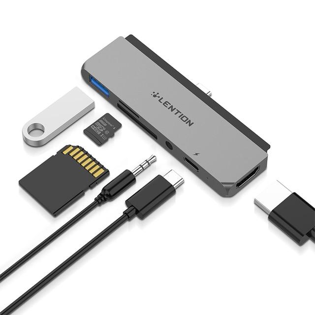 USB C wielu Port koncentratora dla nowego ipada Pro 11/12.9, z 4K HDMI, USB 3.0, SD/karta Micro SD czytelników, dostarczania mocy i 3.5mm Aux