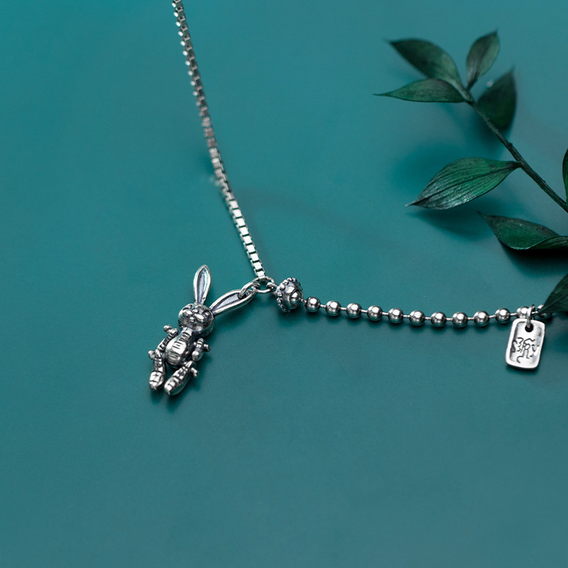 925 argent Punk lapin Collier Bijoux en argent minimalisme pendentifs Chocker Kolye Vintage Boho Bijoux Femme Collier