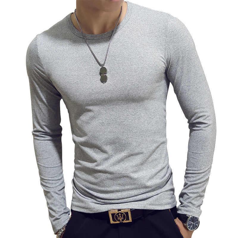 Męska koszulka z długim rękawem, jednokolorowa pulower z okrągłym dekoltem, bez podszewki, górna część garderoby, ciasny top