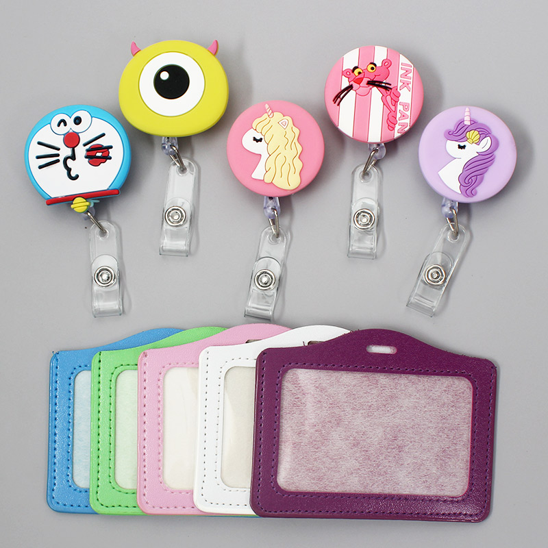 Cute Pink Panther And Unicorn Styles Clown Retractable Badge Card Holder Reel Nurse Boys & Girls Exhibition Enfermera Name Chest
