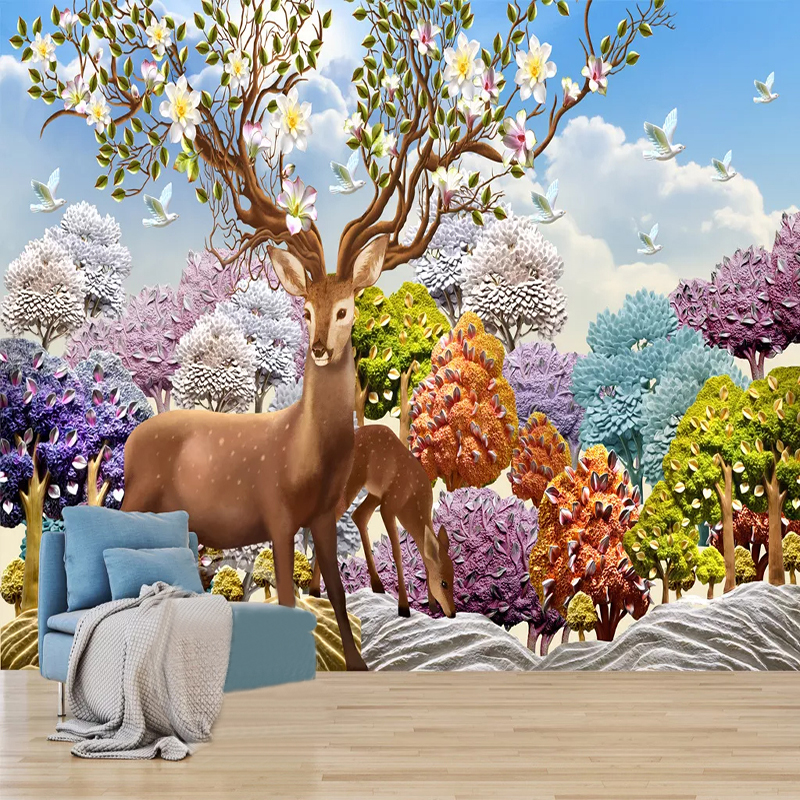 3D Wallpaper Nordic Style Relief Dream Forest Deer Photo Wall Murals Kids Bedroom Living Room Background Wall Painting 3D Fresco