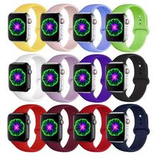 Apple Watch Band 38mm 42mm 40mm 44mm, Sport Soft Silicone Strap Replacement Bands For iWatch Series 4, 3/2/1 S/M M/L