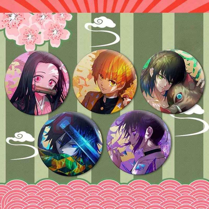 Anime Demon Slayer: Kimetsu Tidak Yaiba Kamado Tanjirou Cosplay Bedge Kartun Mengumpulkan Tas Ransel Lencana Tombol Bros 2020