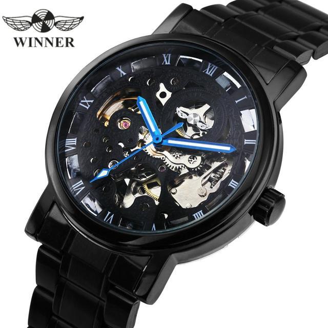 수상작 공식 캐주얼 시계 남성 해골 기계식 시계 스틸 스트랩 로마 숫자 비즈니스 최고 브랜드 럭셔리 남성용 손목 시계