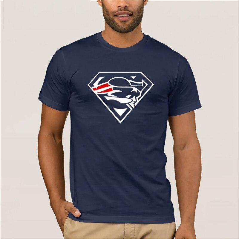 Hot men's fun casual print T-shirt Super Patriots Superman New England Pats Fans   Summer  100% Cotton Men's Sportswear T-shirts