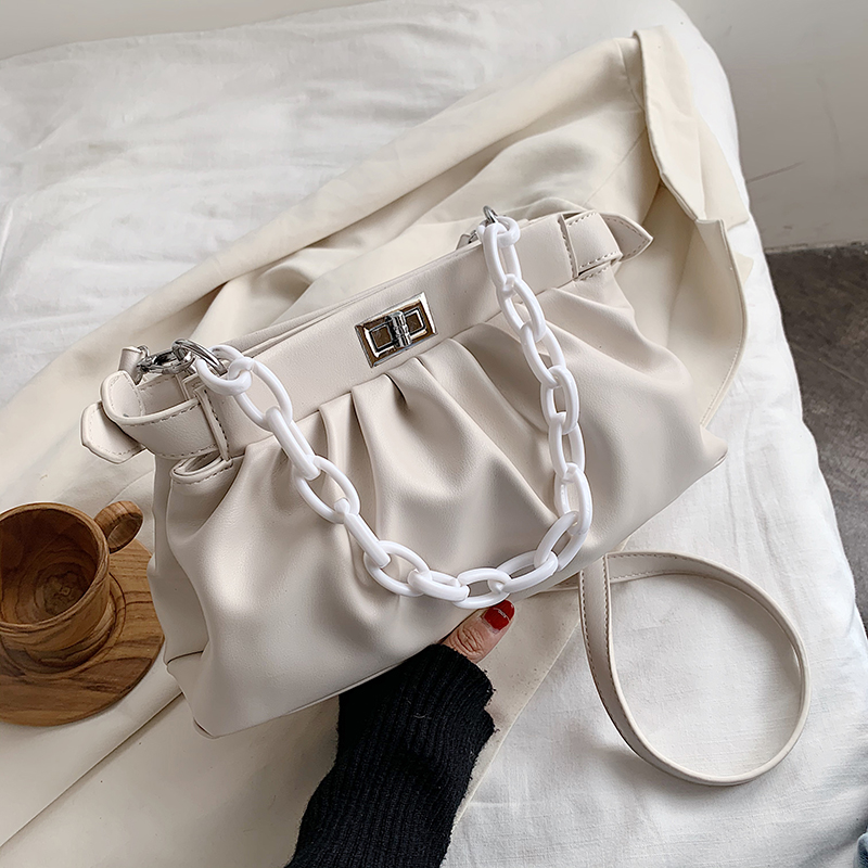 Chain PU Leather Crossbody Bags For Women 2020 Simple Shoulder Messenger Handbags Female Solid Color Luxury Cross Body