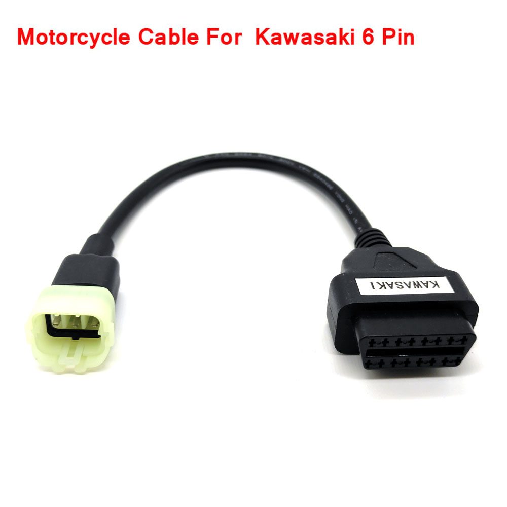 OBD Motorcycle Cable For Kawasaki 6 Pin Plug Cable Diagnostic Cable 6Pin to OBD2 16 pin Adapter