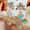 MENGJIQIAO Großhandel Koreanische Luxus Gelb Kristall Blume Tropfen Ohrringe Für Frauen Mädchen Mode Joker Schmuck Pendientes Brincos