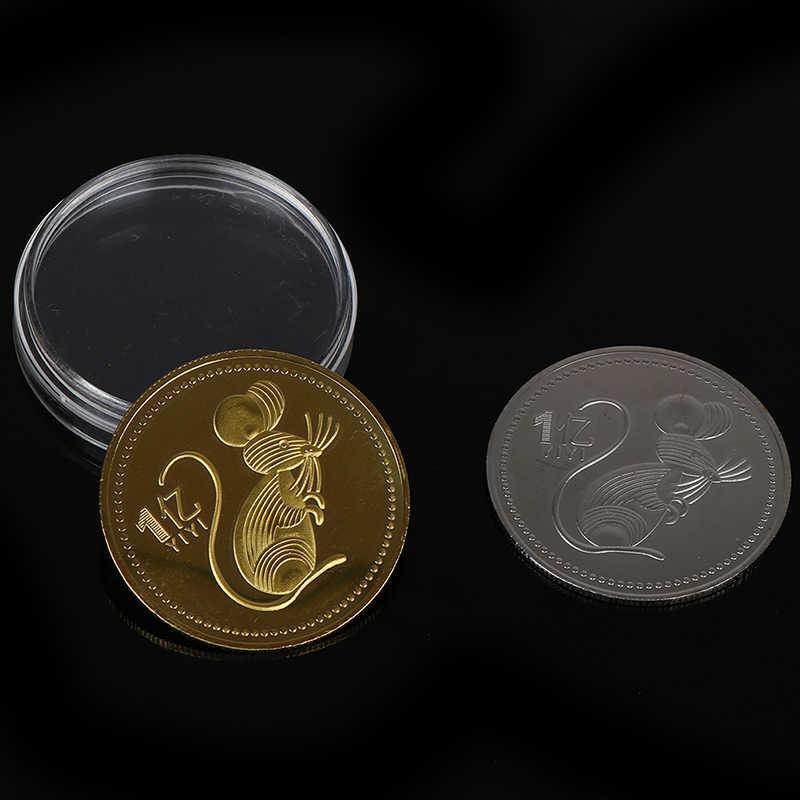 السنة الجديدة هدية الماوس تذكارية عملة سنة من الفئران يسلم جمع المال الذهب الشظية مطلي حسن الحظ ديكور المنزل سيارة