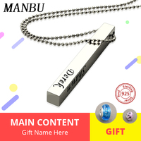 custom Four Side necklace Personalized 925 sterling silver Square 3D Bar Custom Name Necklace Pendant for Women Men Jewelry Gift
