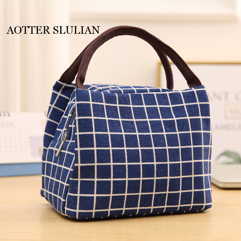 Lesiure Women Lunch Portable Carry Bags Stripe Insulated Marmita Totes For Women Kids Plaid Pack Container Thermal Bag Lunch Bag