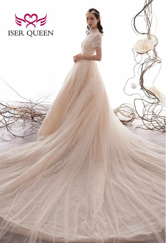 Maniche lunghe Collo Alto Elegante Del Merletto di Tulle Abito Da Sposa UNA linea Backless Vestito Da Sposa Europa Abiti Da Sposa di Design WX0074